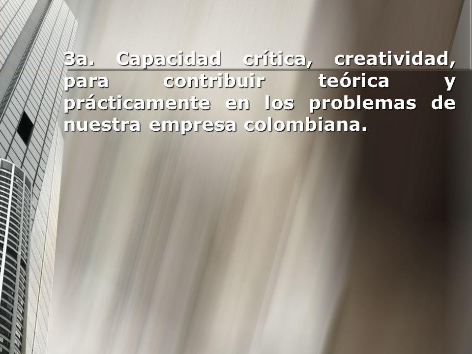 3a. Capacidad crítica, creatividad, para contribuir teórica y prácticamente en los problemas de nuestra empresa colombiana.