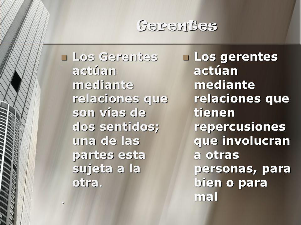 Gerentes Los Gerentes actúan mediante relaciones que son vías de dos sentidos; una de las partes esta sujeta a la otra. Los Gerentes actúan mediante r