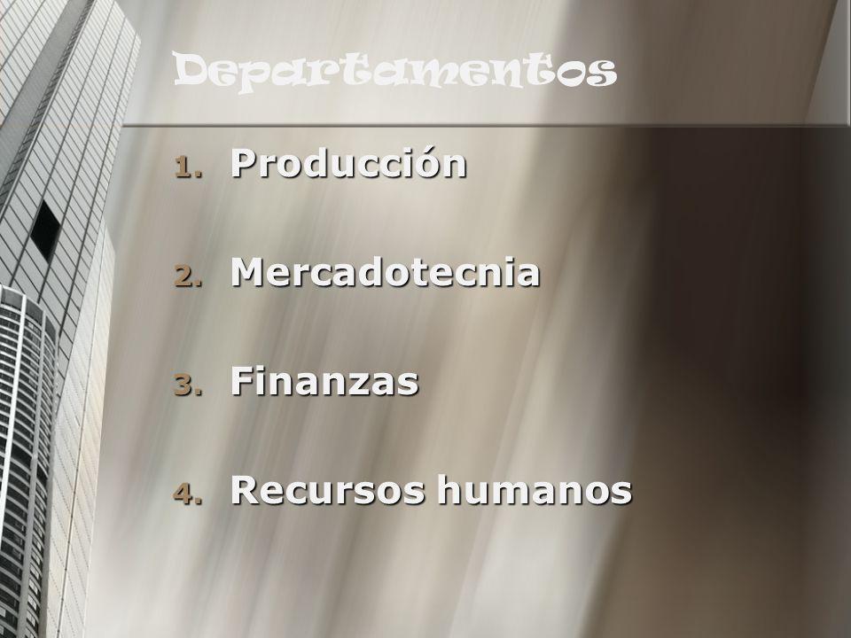 Departamentos 1. Producción 2. Mercadotecnia 3. Finanzas 4. Recursos humanos