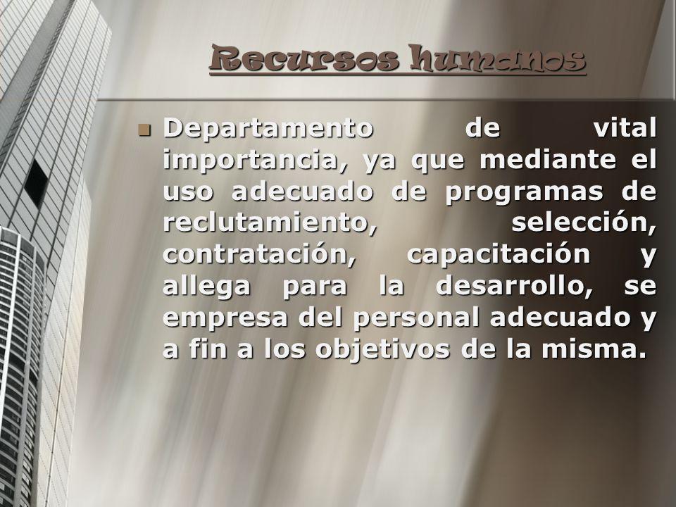 Recursos humanos Recursos humanos Departamento de vital importancia, ya que mediante el uso adecuado de programas de reclutamiento, selección, contrat