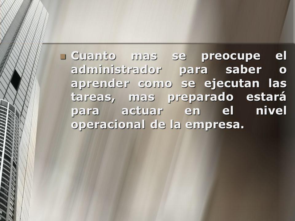 Cuanto mas se preocupe el administrador para saber o aprender como se ejecutan las tareas, mas preparado estará para actuar en el nivel operacional de
