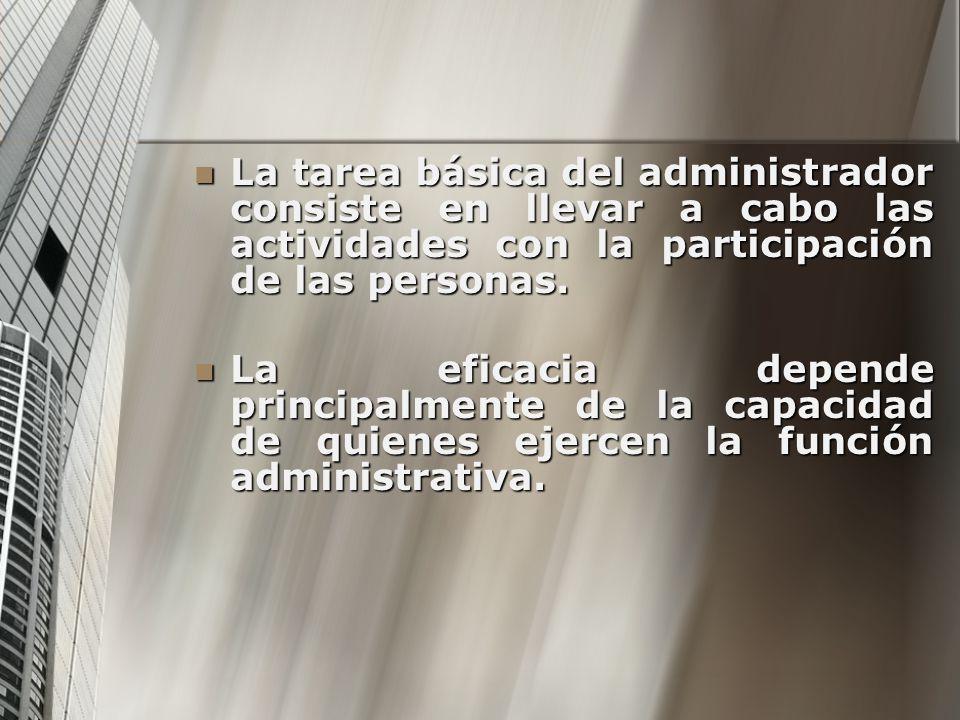 La tarea básica del administrador consiste en llevar a cabo las actividades con la participación de las personas. La tarea básica del administrador co