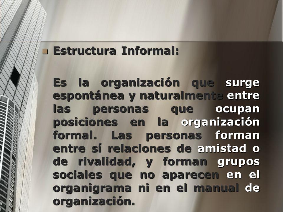 Estructura Informal: Estructura Informal: Es la organización que surge espontánea y naturalmente entre las personas que ocupan posiciones en la organi