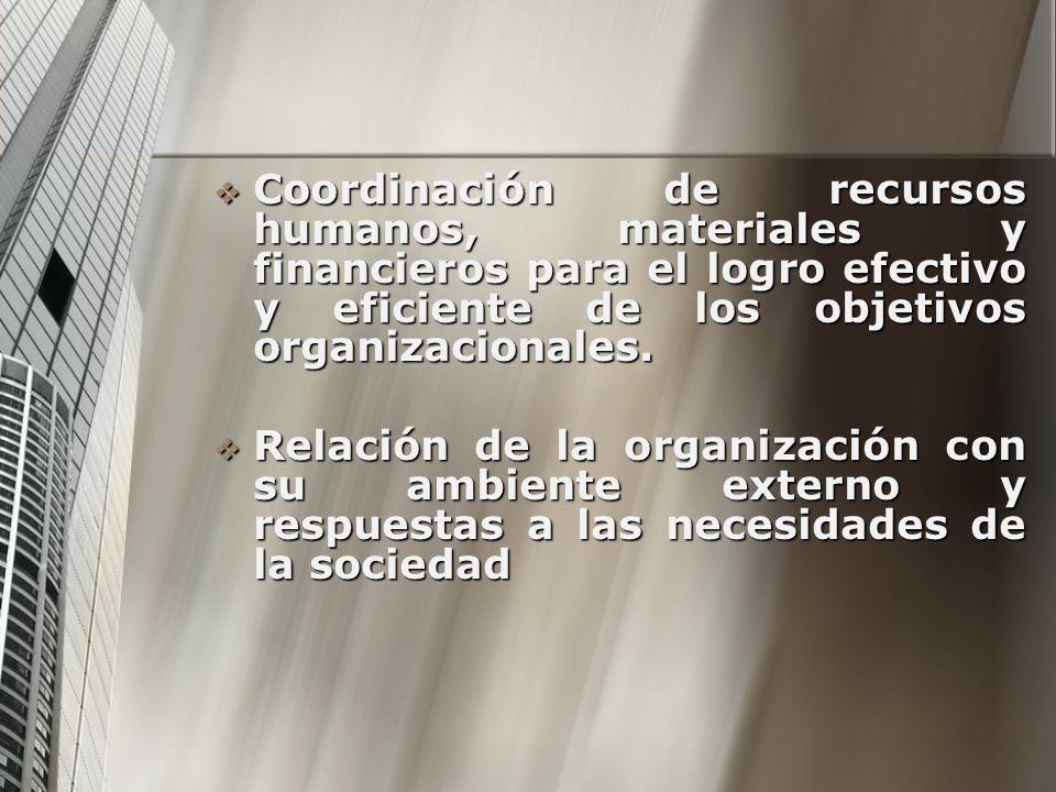 Coordinación de recursos humanos, materiales y financieros para el logro efectivo y eficiente de los objetivos organizacionales. Coordinación de recur