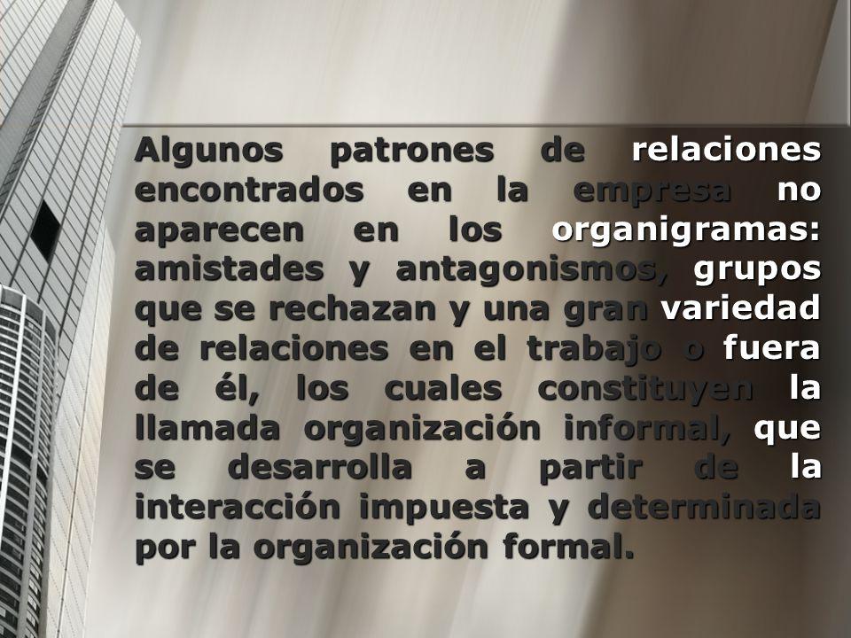 Algunos patrones de relaciones encontrados en la empresa no aparecen en los organigramas: amistades y antagonismos, grupos que se rechazan y una gran