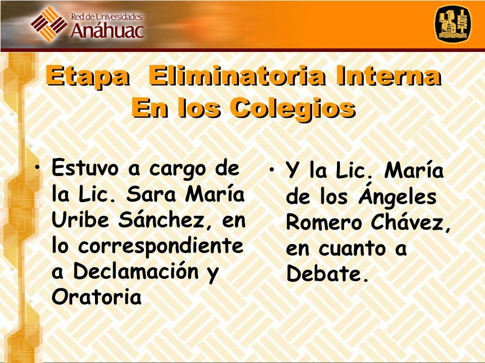 Etapa Eliminatoria Interna En los Colegios Estuvo a cargo de la Lic. Sara María Uribe Sánchez, en lo correspondiente a Declamación y Oratoria Y la Lic