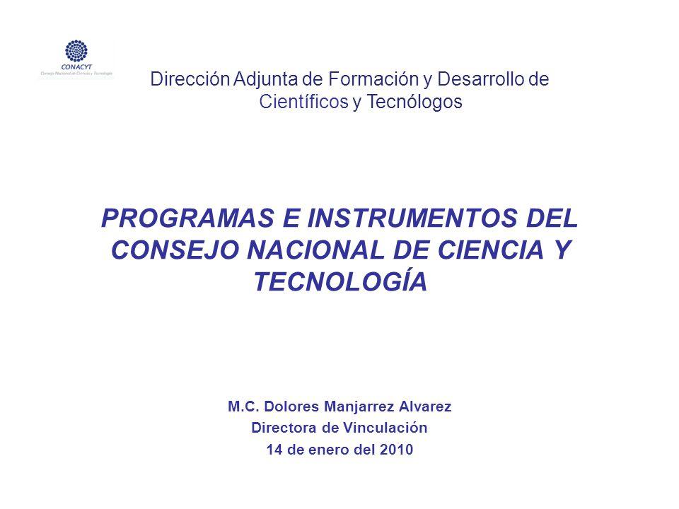 PROGRAMAS E INSTRUMENTOS DEL CONSEJO NACIONAL DE CIENCIA Y TECNOLOGÍA M.C. Dolores Manjarrez Alvarez Directora de Vinculación 14 de enero del 2010 Dir