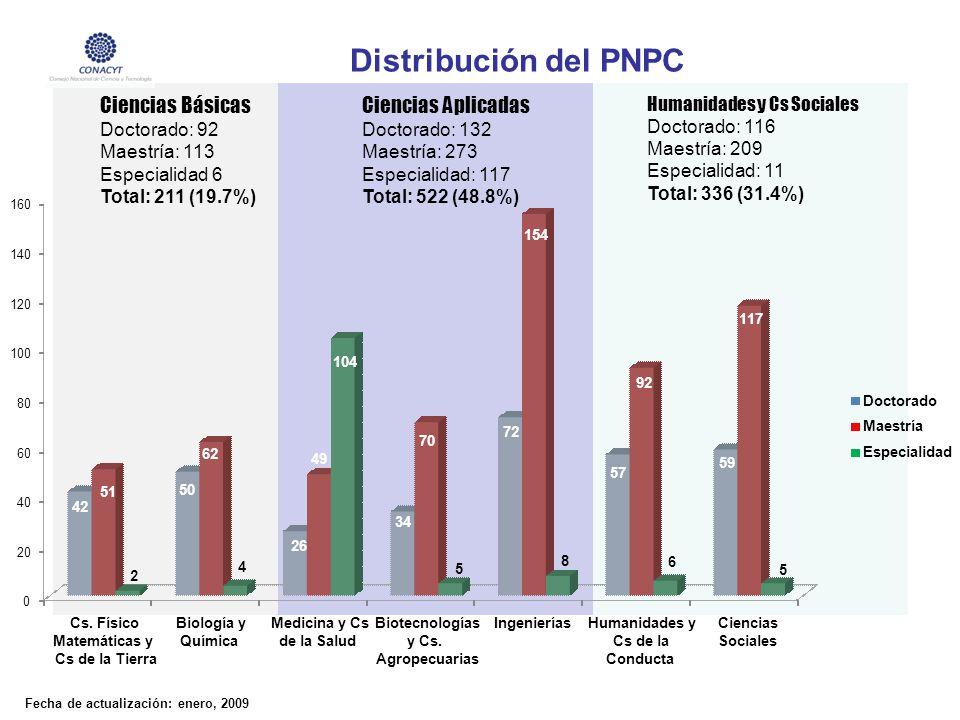 Ciencias Básicas Doctorado: 92 Maestría: 113 Especialidad 6 Total: 211 (19.7%) Ciencias Aplicadas Doctorado: 132 Maestría: 273 Especialidad: 117 Total