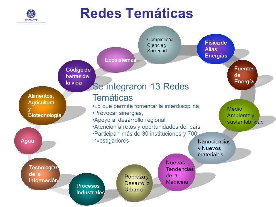 Redes Temáticas Medio Ambiente y sustentabilidad Se integraron 13 Redes Temáticas Lo que permite fomentar la interdisciplina, Provocar sinergias, Apoy