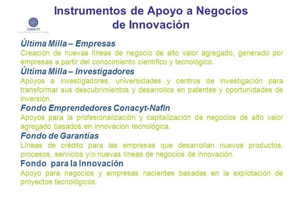 Instrumentos de Apoyo a Negocios de Innovación Última Milla – Empresas Creación de nuevas líneas de negocio de alto valor agregado, generado por empre