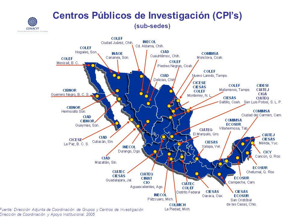 Fuente: Dirección Adjunta de Coordinación de Grupos y Centros de Investigación Dirección de Coordinación y Apoyo Institucional. 2005 Centros Públicos