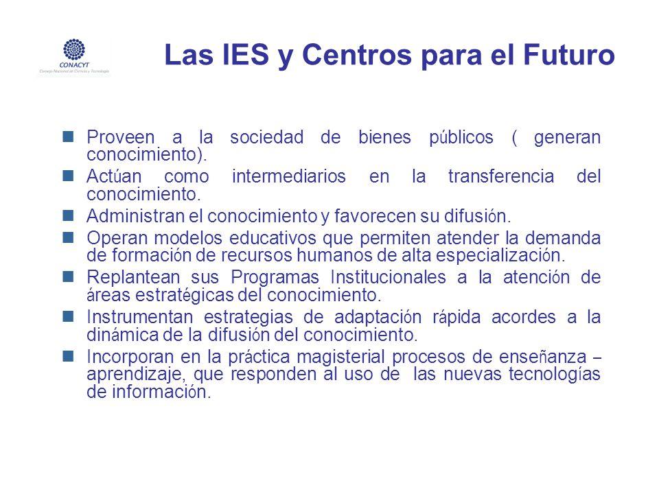 Las IES y Centros para el Futuro Proveen a la sociedad de bienes p ú blicos ( generan conocimiento). Act ú an como intermediarios en la transferencia