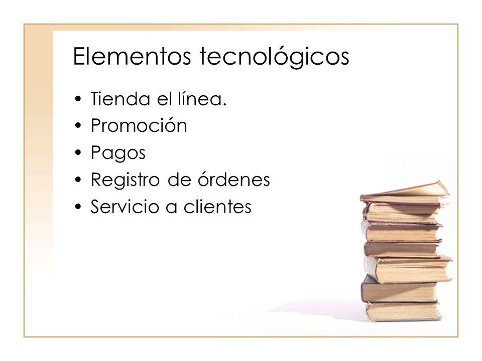 Elementos tecnológicos Tienda el línea. Promoción Pagos Registro de órdenes Servicio a clientes