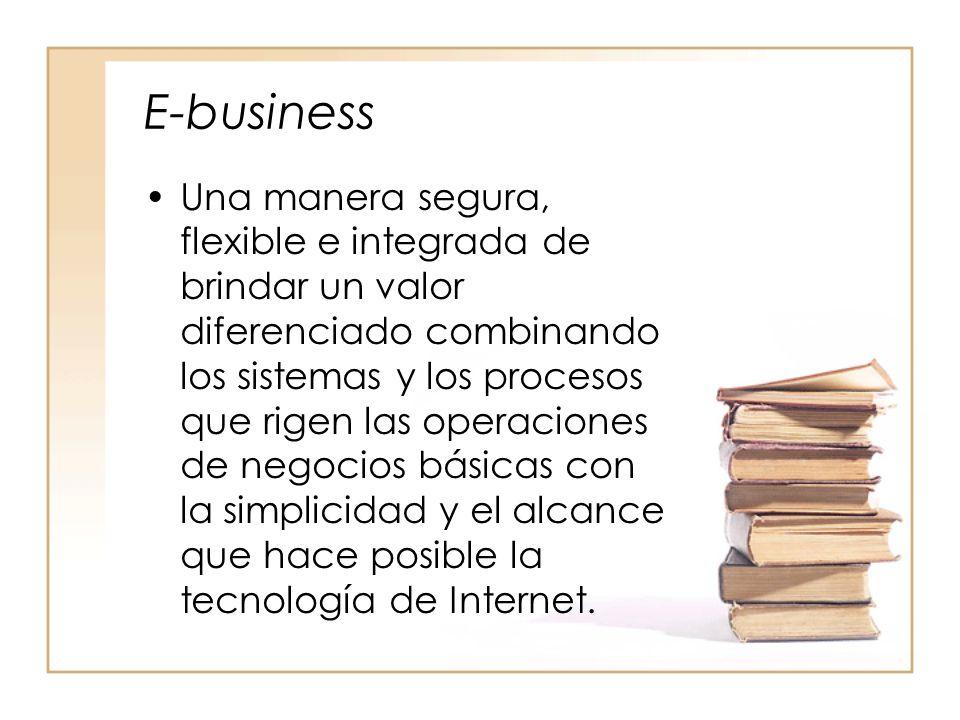 E-business Una manera segura, flexible e integrada de brindar un valor diferenciado combinando los sistemas y los procesos que rigen las operaciones de negocios básicas con la simplicidad y el alcance que hace posible la tecnología de Internet.