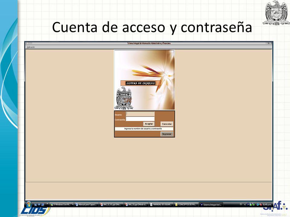 Cuenta de acceso y contraseña
