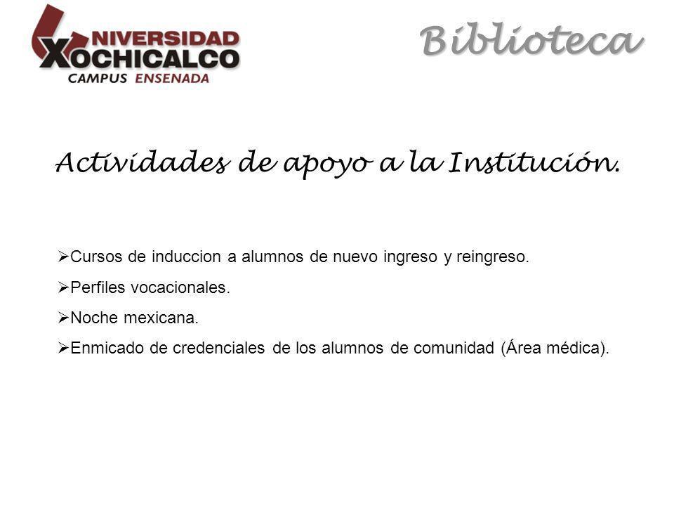 Biblioteca Actividades de apoyo a la Institución.