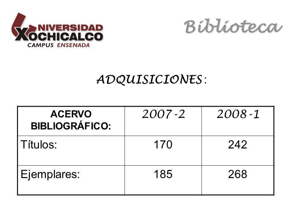 Biblioteca ADQUISICIONES : ACERVO BIBLIOGRÁFICO: 2007-22008-1 Títulos:170242 Ejemplares:185268