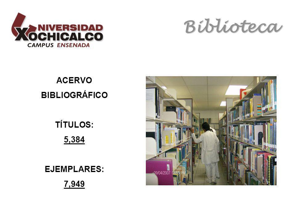 Biblioteca ACERVO BIBLIOGRÁFICO TÍTULOS: 5,384 EJEMPLARES: 7,949