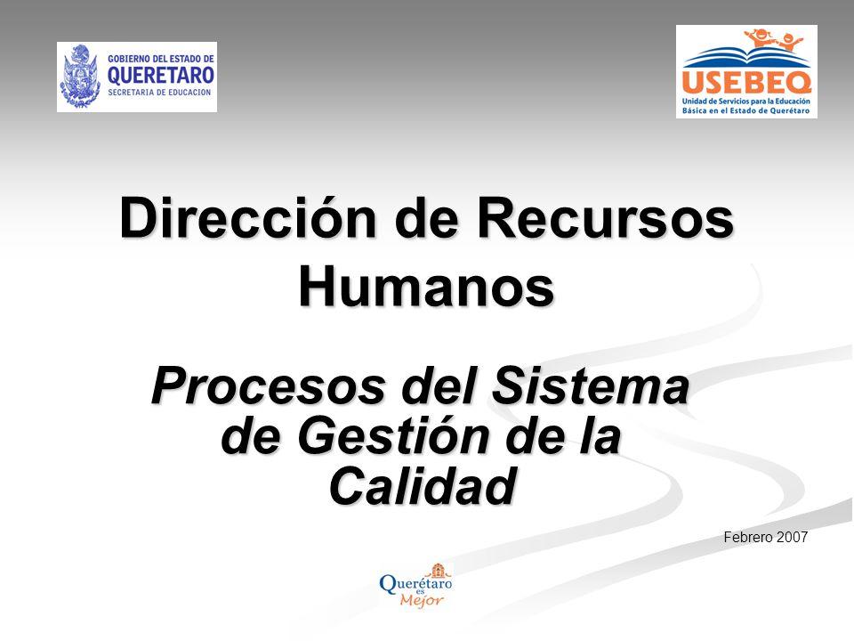 Dirección de Recursos Humanos Procesos del Sistema de Gestión de la Calidad Febrero 2007