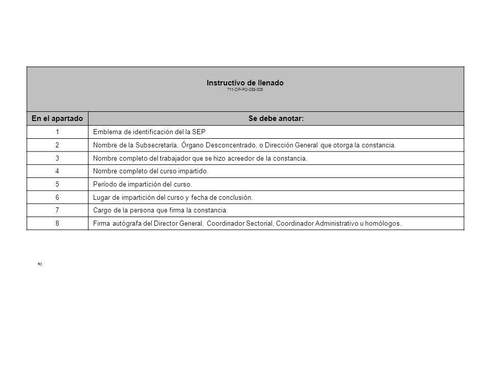 CONSTANCIA Instructivo de llenado 711-DP-PO-038-005 En el apartadoSe debe anotar: 1Emblema de identificación del la SEP 2Nombre de la Subsecretaría, Ó