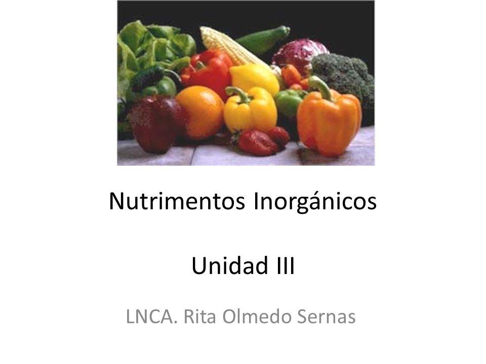 Nutrimentos Inorgánicos Unidad III LNCA. Rita Olmedo Sernas