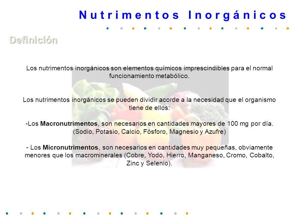N u t r i m e n t o s I n o r g á n i c o s Definición Los nutrimentos inorgánicos son elementos químicos imprescindibles para el normal funcionamient