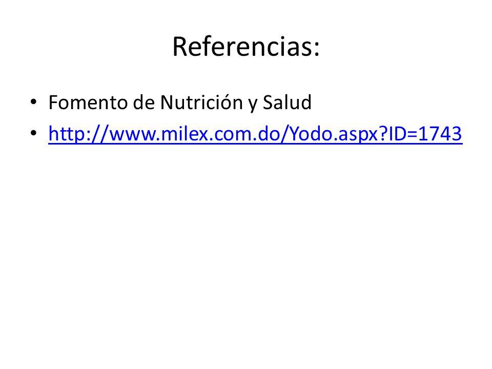 Referencias: Fomento de Nutrición y Salud http://www.milex.com.do/Yodo.aspx?ID=1743