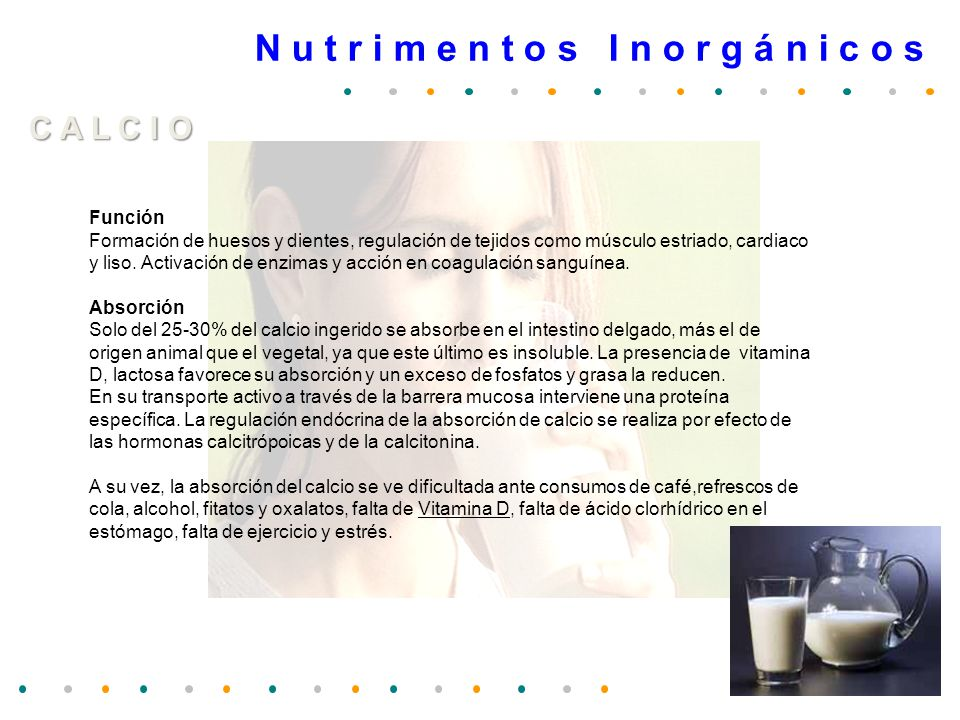 N u t r i m e n t o s I n o r g á n i c o s C R O M O Función Participa en el metabolismo de HCO por tanto para la utilización normal de la glucosa y para el crecimiento.