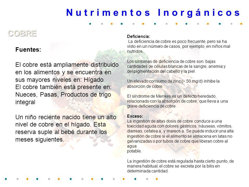 N u t r i m e n t o s I n o r g á n i c o s COBRE Fuentes: El cobre está ampliamente distribuido en los alimentos y se encuentra en sus mayores nivele