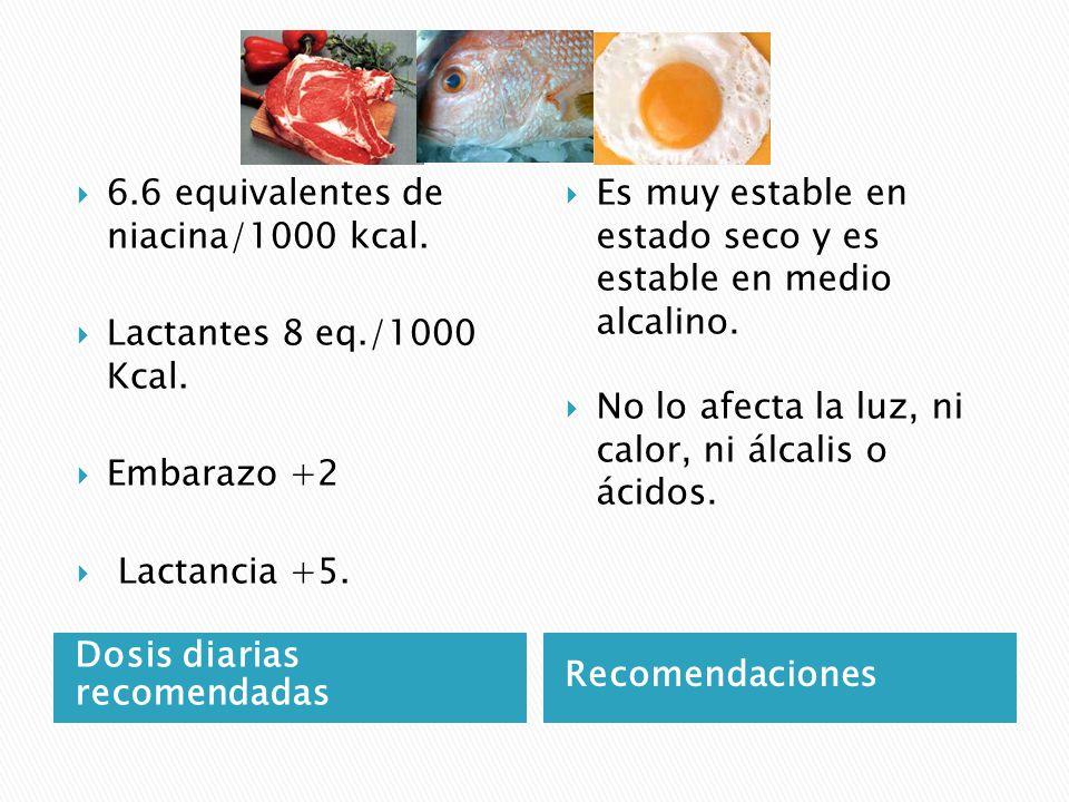 Dosis diarias recomendadas Recomendaciones 6.6 equivalentes de niacina/1000 kcal.