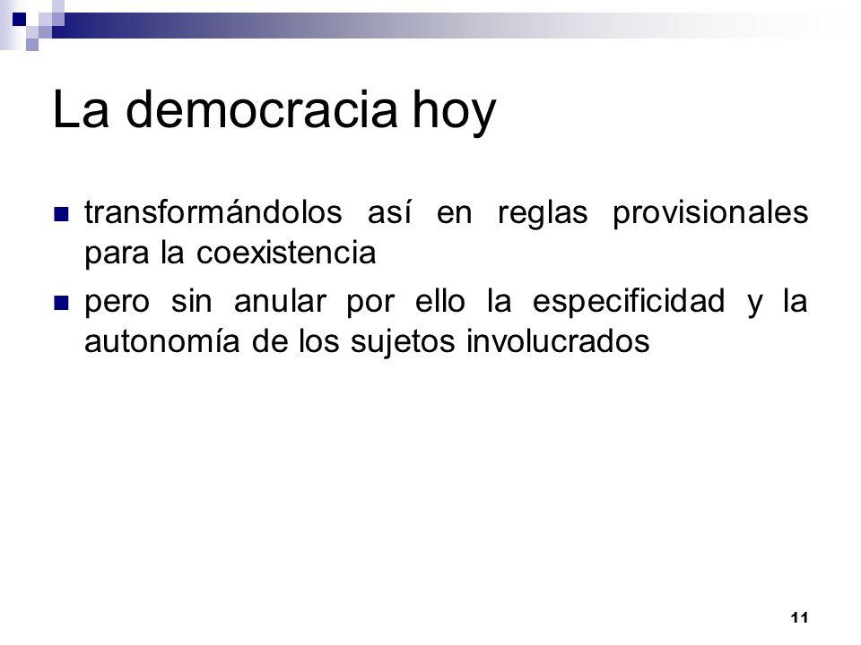 11 La democracia hoy transformándolos así en reglas provisionales para la coexistencia pero sin anular por ello la especificidad y la autonomía de los sujetos involucrados