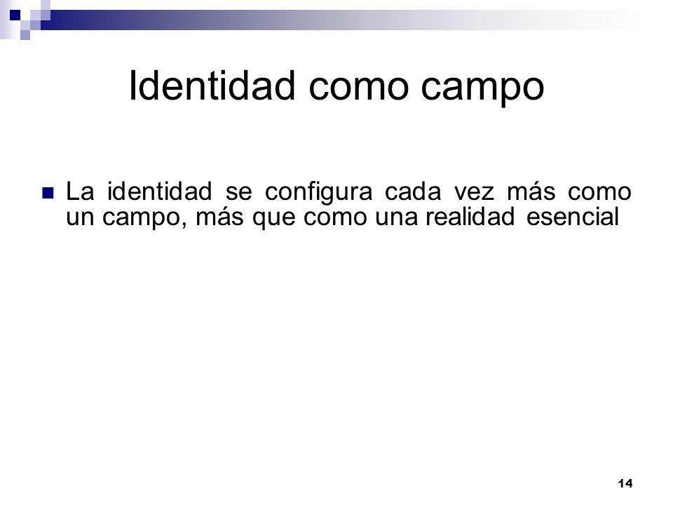14 Identidad como campo La identidad se configura cada vez más como un campo, más que como una realidad esencial