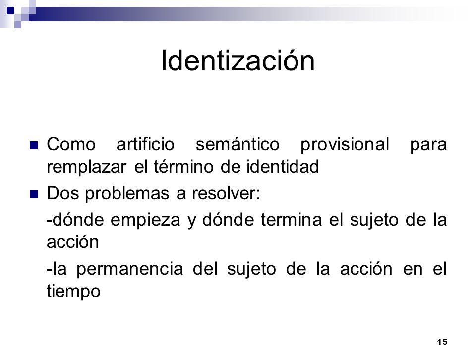 15 Identización Como artificio semántico provisional para remplazar el término de identidad Dos problemas a resolver: -dónde empieza y dónde termina el sujeto de la acción -la permanencia del sujeto de la acción en el tiempo