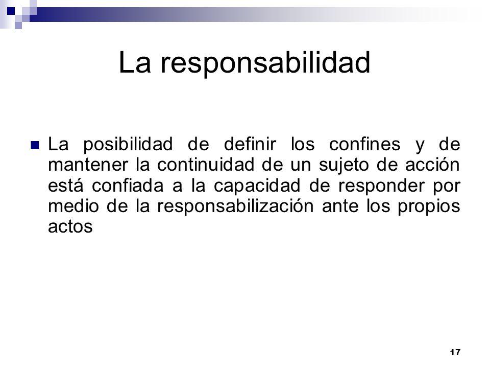 17 La responsabilidad La posibilidad de definir los confines y de mantener la continuidad de un sujeto de acción está confiada a la capacidad de responder por medio de la responsabilización ante los propios actos