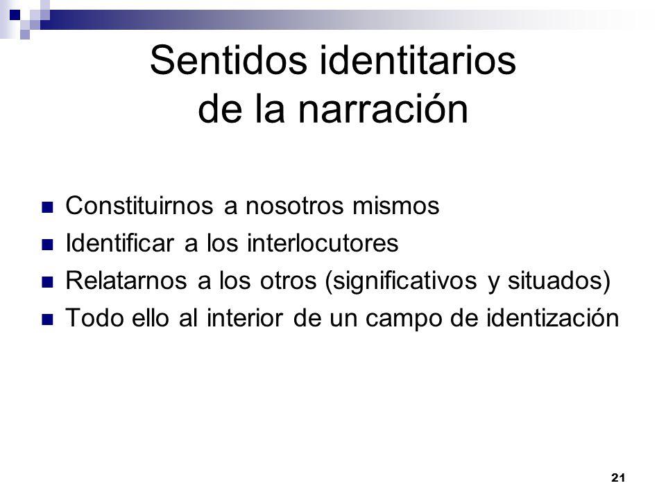 21 Sentidos identitarios de la narración Constituirnos a nosotros mismos Identificar a los interlocutores Relatarnos a los otros (significativos y situados) Todo ello al interior de un campo de identización