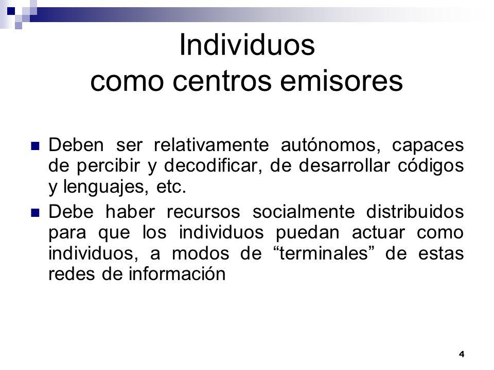4 Individuos como centros emisores Deben ser relativamente autónomos, capaces de percibir y decodificar, de desarrollar códigos y lenguajes, etc.