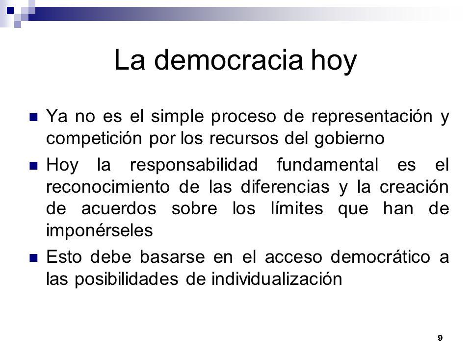 9 La democracia hoy Ya no es el simple proceso de representación y competición por los recursos del gobierno Hoy la responsabilidad fundamental es el reconocimiento de las diferencias y la creación de acuerdos sobre los límites que han de imponérseles Esto debe basarse en el acceso democrático a las posibilidades de individualización