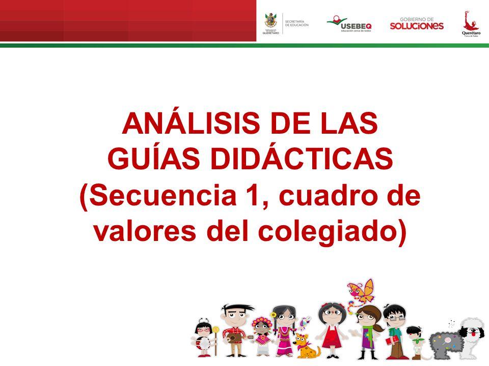 ANÁLISIS DE LAS GUÍAS DIDÁCTICAS (Secuencia 1, cuadro de valores del colegiado)