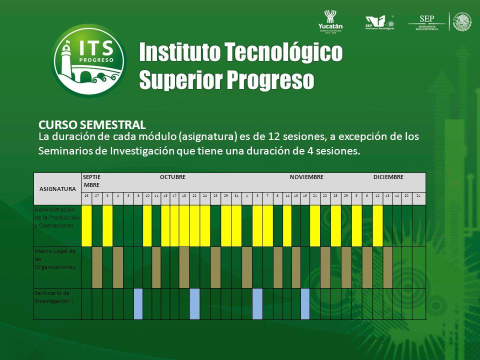 Instituto Tecnológico Superior Progreso CURSO SEMESTRAL La duración de cada módulo (asignatura) es de 12 sesiones, a excepción de los Seminarios de Investigación que tiene una duración de 4 sesiones.
