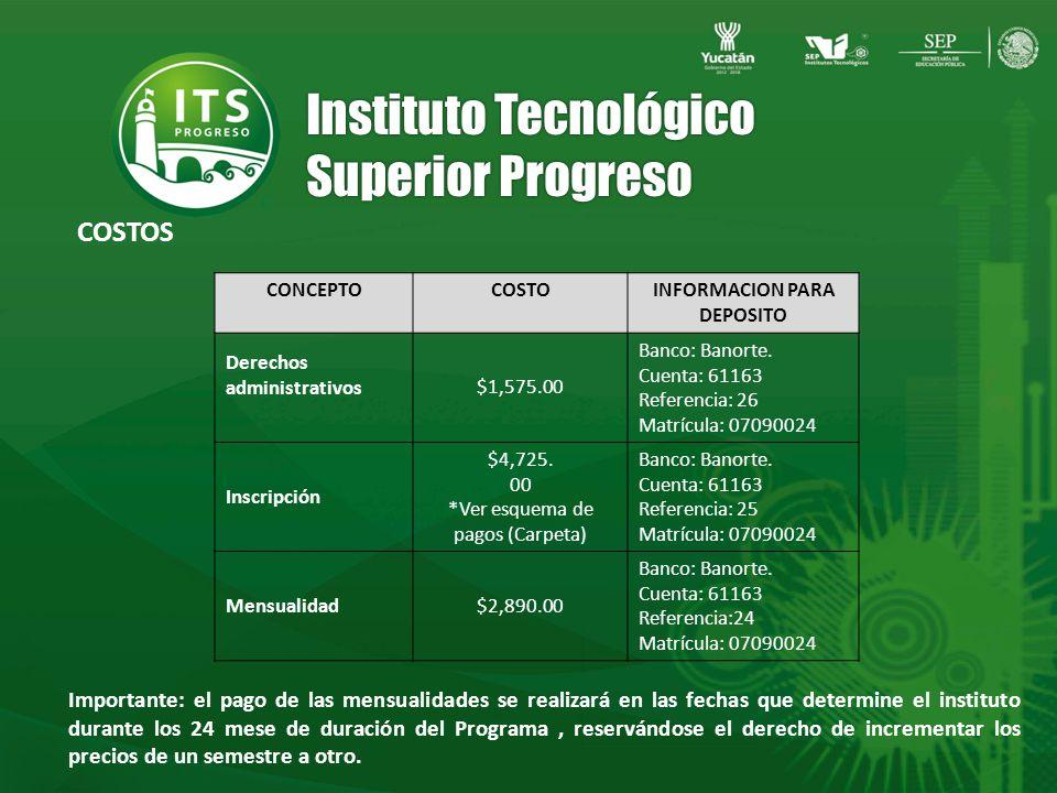 Instituto Tecnológico Superior Progreso CONCEPTOCOSTOINFORMACION PARA DEPOSITO Derechos administrativos$1,575.00 Banco: Banorte.