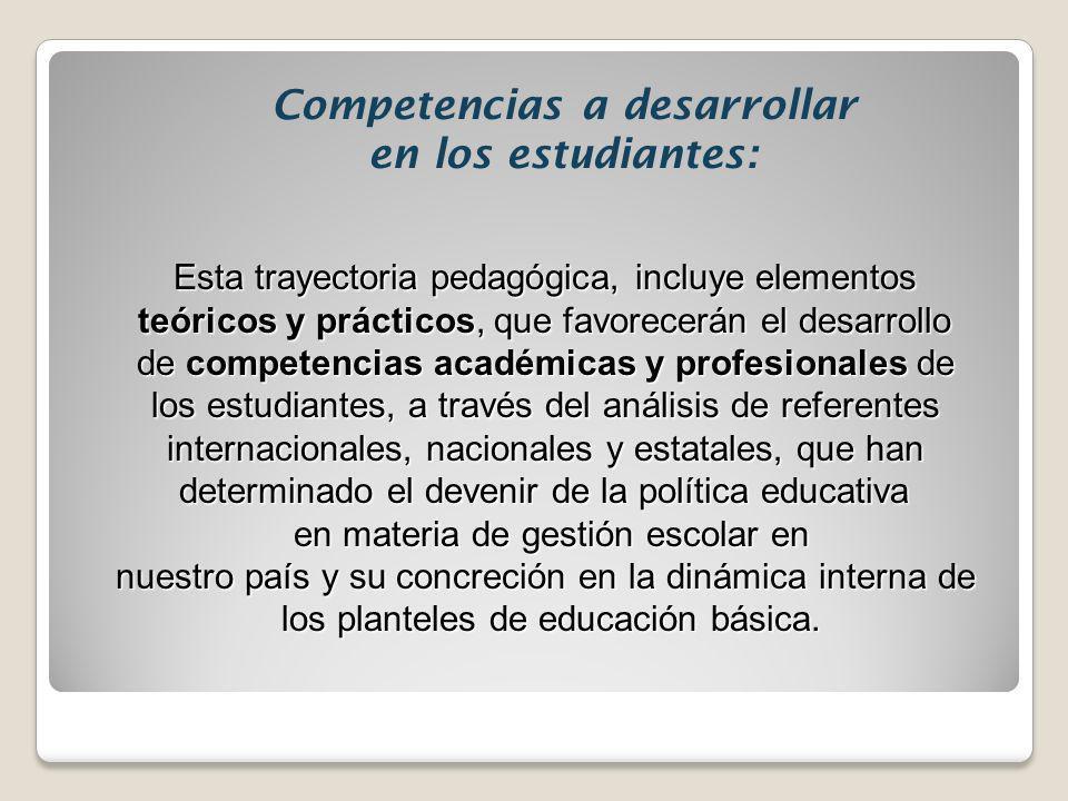 Competencias a desarrollar en los estudiantes: Esta trayectoria pedagógica, incluye elementos teóricos y prácticos, que favorecerán el desarrollo de c