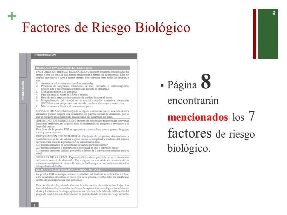 + Página 8 encontrarán mencionados los 7 factores de riesgo biológico. 6 Factores de Riesgo Biológico