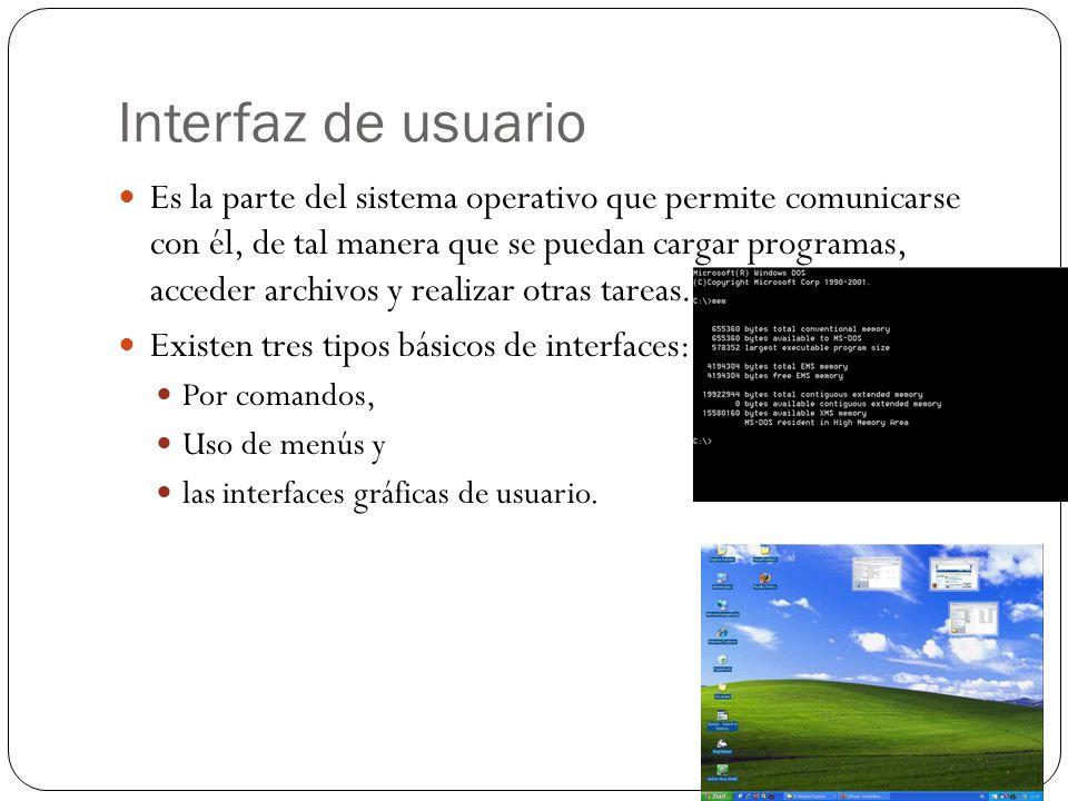 Interfaz de usuario Es la parte del sistema operativo que permite comunicarse con él, de tal manera que se puedan cargar programas, acceder archivos y realizar otras tareas.