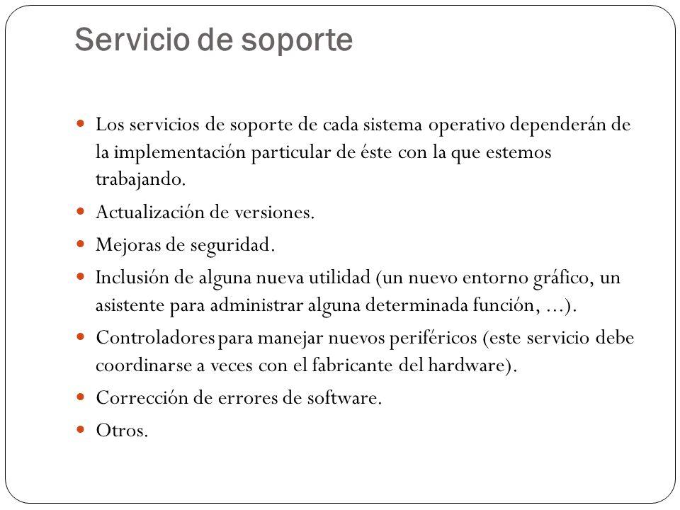 Servicio de soporte Los servicios de soporte de cada sistema operativo dependerán de la implementación particular de éste con la que estemos trabajando.