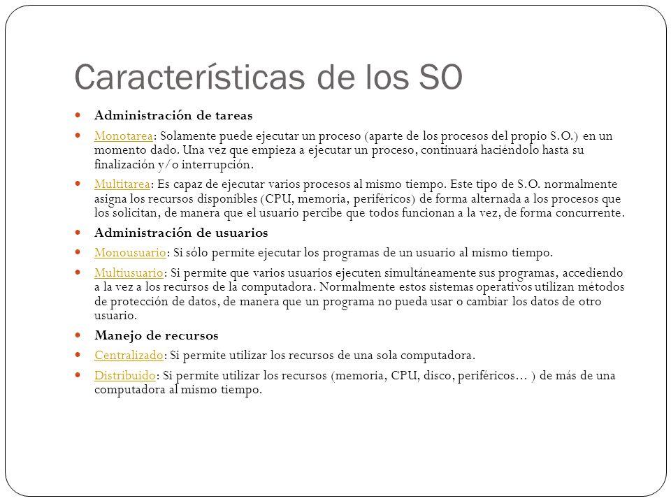 Características de los SO Administración de tareas Monotarea: Solamente puede ejecutar un proceso (aparte de los procesos del propio S.O.) en un momento dado.