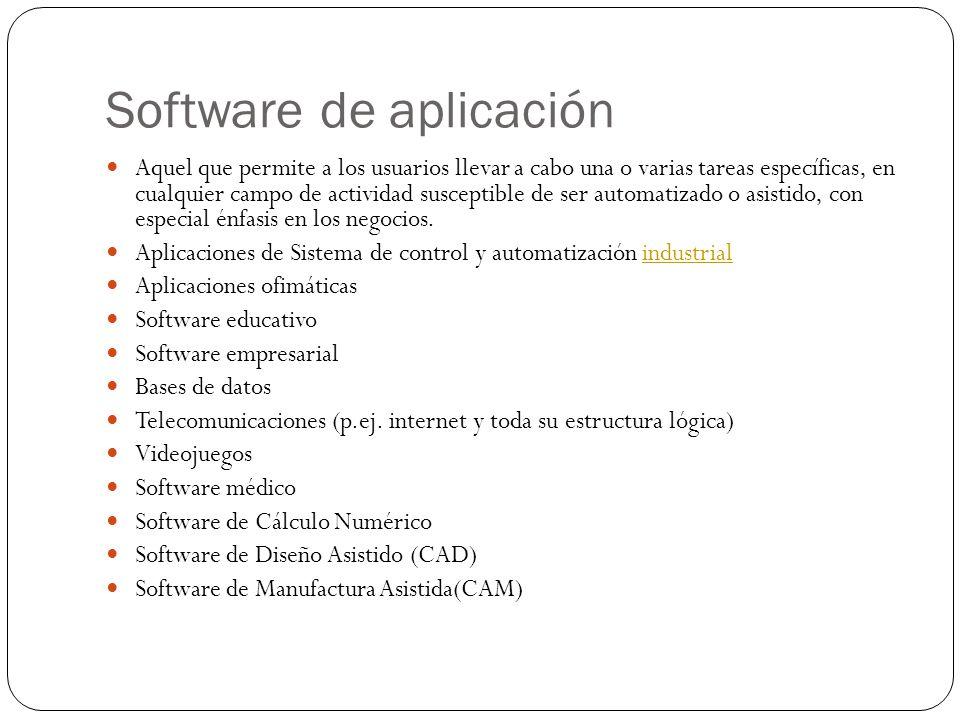 Software de aplicación Aquel que permite a los usuarios llevar a cabo una o varias tareas específicas, en cualquier campo de actividad susceptible de ser automatizado o asistido, con especial énfasis en los negocios.