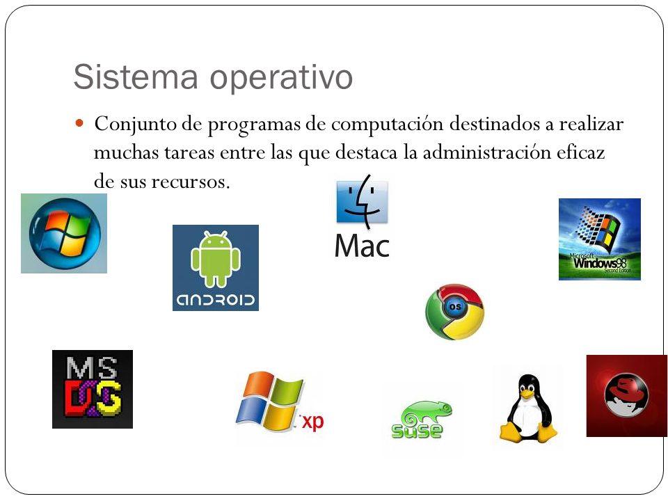 Sistema operativo Conjunto de programas de computación destinados a realizar muchas tareas entre las que destaca la administración eficaz de sus recursos.