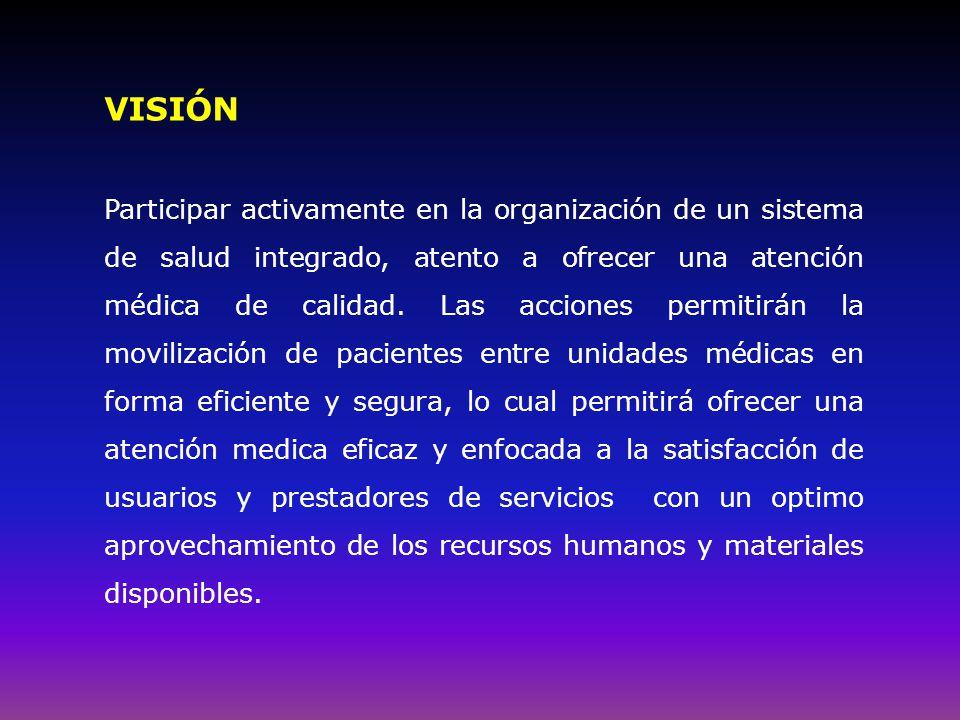 VISIÓN Participar activamente en la organización de un sistema de salud integrado, atento a ofrecer una atención médica de calidad.