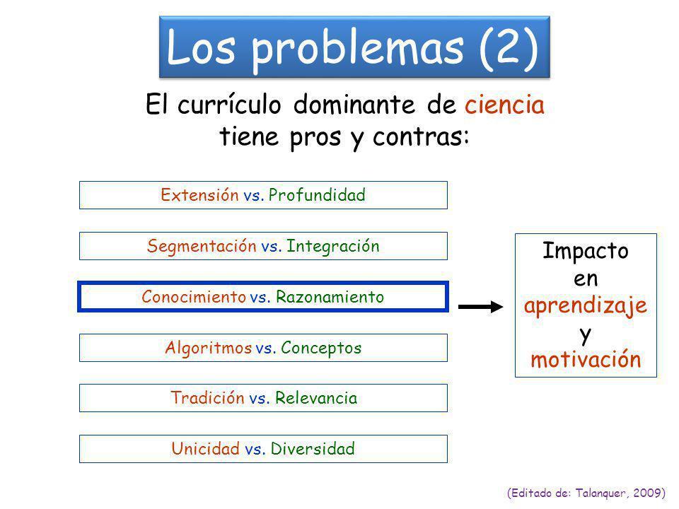 Los problemas (2) (Editado de: Talanquer, 2009) El currículo dominante de ciencia tiene pros y contras: Extensión vs.