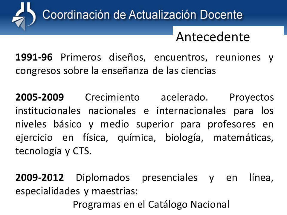 1991-96 Primeros diseños, encuentros, reuniones y congresos sobre la enseñanza de las ciencias 2005-2009 Crecimiento acelerado.